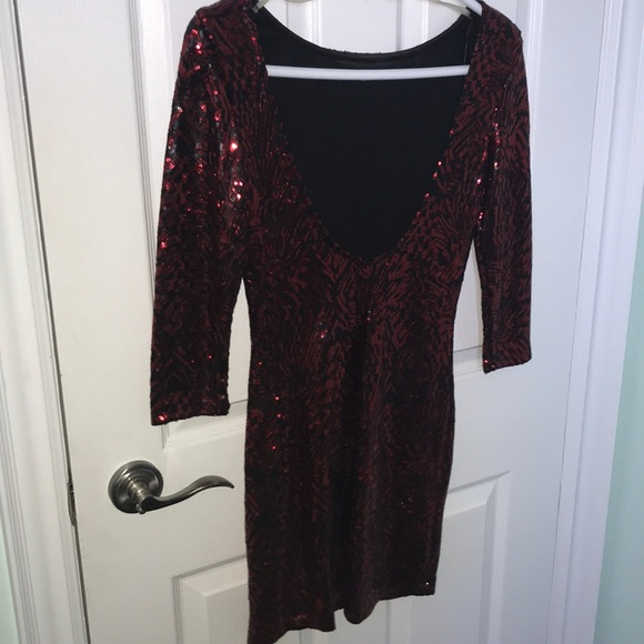 Red and black sequin dress
